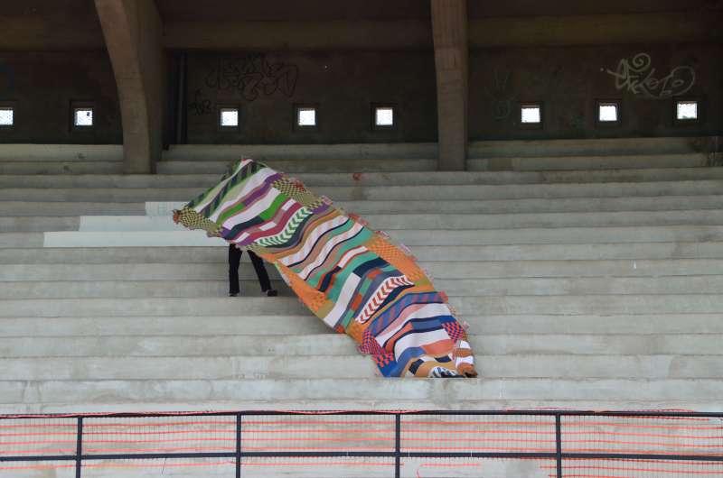 "Manuel Leromain ""Goal"", tissu Jacquard en collaboration avec B&T Textilia, Master 1, 2019"